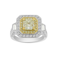 2 1/2ct tw Diamond Halo Ring in 18K White and Yellow Gold - Jewelry & Gifts