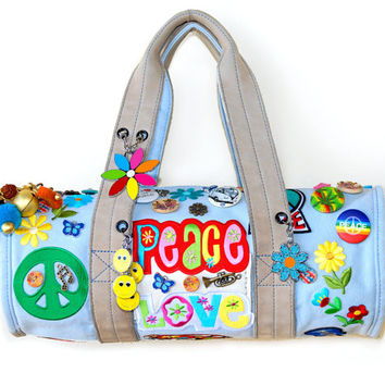 Boho style Duffel Bag Purse Hippy chic Gypsy Groovy Peace and Love weed Peace symbol flower small handbag original colorful ONE OF A KIND
