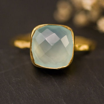 Cushion Cut Aqua Blue Chalcedony Ring - Gemstone Ring - Gold Ring - Bezel Set Ring -