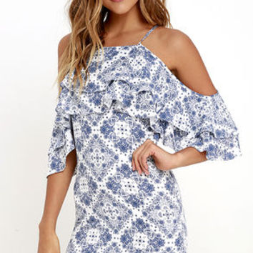 Feeling Swell Ivory and Blue Print Dress