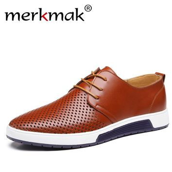 New 2017 Summer Brand Casual Men Shoes Mens Flats Luxury Genuine Leather Shoes Man Breathing Holes Oxford Big Size Leisure Shoes
