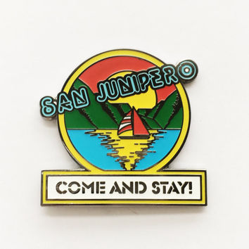 San Junipero Black Mirror enamel pin // 1.75 inch, hat pin, lapel pin, 80s, TV, Netflix, TV series, Tech, VR