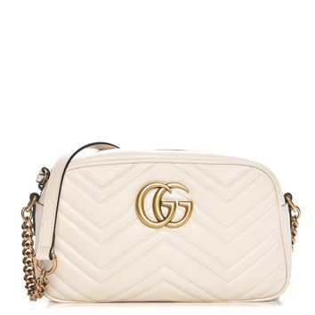 GUCCI Calfskin Matelasse Small GG Marmont Chain Shoulder Bag White