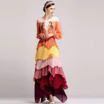 Ethnic Long Sleeve Colored Floral Long Maxi Dress Women Bird Embroidery Appliques Loose Dress Summer