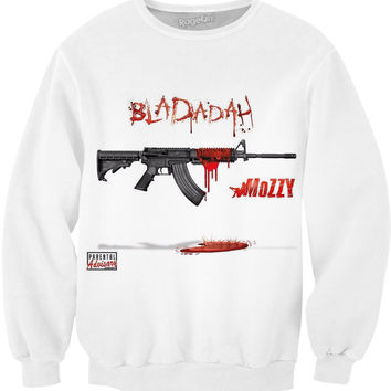"MOZZY ""BLADADAH"" WHITE SWEATER"