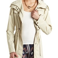 DRAWSTRING HOODED ANORAK RAINCOAT