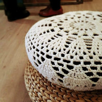Sun Pillow Cover Cushion Crochet Ecru Vanilla Off-white IKEA ALSEDA Stool banana fibre Cotton eco-friendly Yarn Art Textille Home Decor
