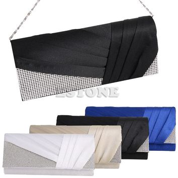 New Fashion Women Elegant Pleated Satin Rhinestone Fashion Clutch Evening Bag Handbag Purse