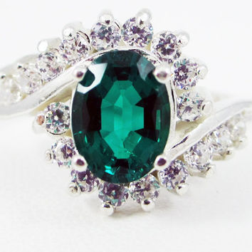 Emerald Oval and CZ Ring Sterling Silver, May Birthstone Ring, Emerald Halo Ring, Emerald Engagement Ring, 925 Sterling Engagement Ring