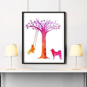 Nursery decor Boy on swing Dog print Watercolor art Woodland nursery Akita print Kids room poster Digital art Pets gift ArtPrintsByChrista