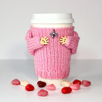 Girlfriend gift. Valentine's coffee sleeve. Travel mug cozy. Gift for her. Pink silver. Angel charm. Romantic gift. Mug sweater. Wife gift.