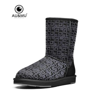 2017 AUMU Australia Tradional Print Suede Wool Lining Slip-on Round Toe Rubber Soles  Mid-calf Snow Winter Boots UG N373