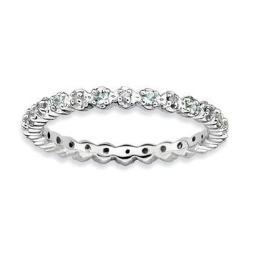 Sterling Silver Stackable Expressions Aquamarine & Diamond Alternating Eternity Ring