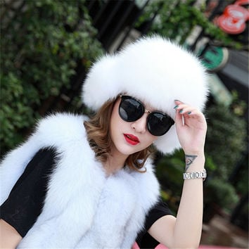 Free Shipping Genuine Fox Fur Hat for Women Winter Cap For Russian Winter Female Natural Raccoon Fur Warm Caps