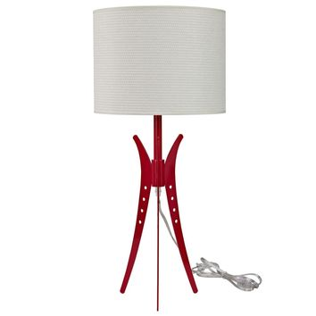 Flair Contemporary Table Lamp Coated Metal Red / White