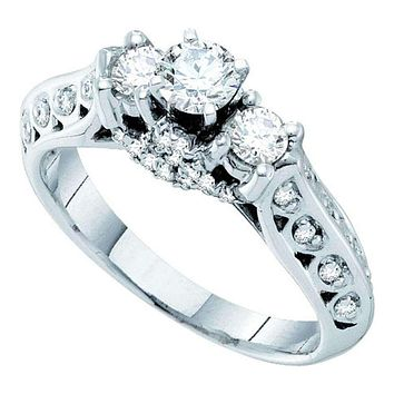 14kt White Gold Women's Round Diamond 3-stone Bridal Wedding Engagement Ring 3/4 Cttw - FREE Shipping (USA/CAN)