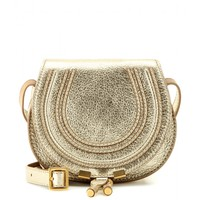 chloé - marcie small metallic-leather shoulder bag