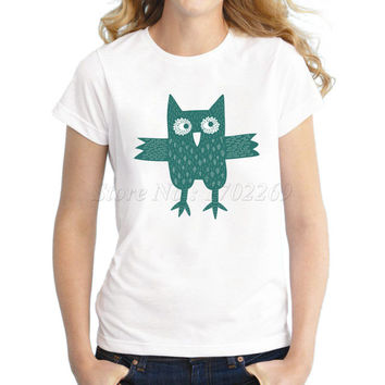 2017 Women's Colorful Owl Letter Printed T shirt Fashion 3D Animal Winter Owl Casual Famale Tops Novelty Girl's Cute Tee