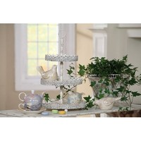 Creative Co-op Cottage Chic Metal 3-Tier Tray, 12-Inch by 18-Inch, Antique White