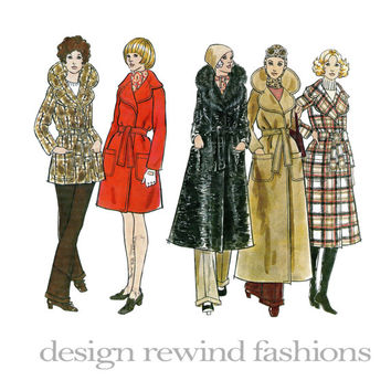 1970s WRAP TRENCH COAT w/ Large Shawl Collar Fur Collar Maxi Midi Knee Length Car Coat Bust 32.5 Vogue 2412 Women's Vintage Sewing Patterns