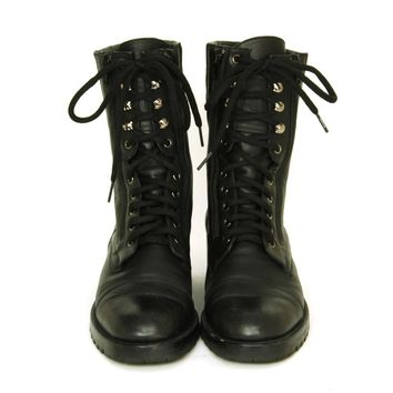 CHANEL Vintage Black Leather Combat Boots c. 1990s Sz. 40/41