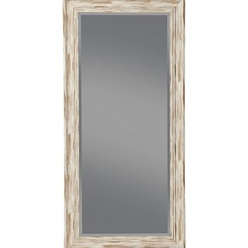 Farmhouse Style Full Length Leaner Mirror With Polystyrene Frame, Antique White