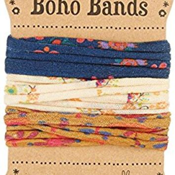 Natural Life Set of 3 Colorful Navy, Cream, and Gold Floral Boho Bands Bracelet Headband