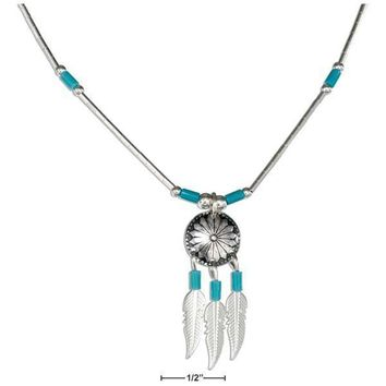 """Sterling Silver Necklaces: 16"""" Concho Necklace With Feathers And Simulated Turquoise Heishi"""