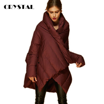 2016 New Fashion Women's Down Jacket Parka Cloaks European Designer Asymmetric Length Hooded Anorak Winter Coat Female
