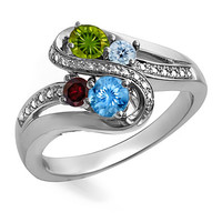 Mother's Birthstone and Diamond Accent Swirl Bypass Ring in Sterling Silver (4 Stones)