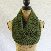 Ready To Ship Infinity Scarf Crochet Knit Dark Olive Green Women's Accessories Eternity Fall Winter