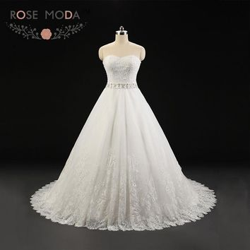 Rose Moda Lace Wedding Ball Gown Strapless Plus Size Wedding Dress Lace Up Back Crystal Sash 2018