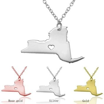New York Girl State Necklace - 3 Colors