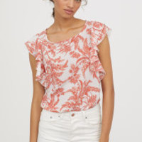 H&M Flounce-sleeved Top $24.99