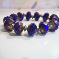 Purple Shiny Beaded Stretch Bracelet Faceted Glass Foil Bead Jewelry Iridescent