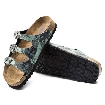 Sale Birkenstock Florida Soft Footbed Birko Flor Damask Petrol 1007085 Sandals