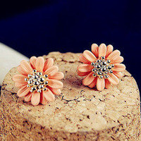 [grxjy530032]Beautiful orange flower earrings