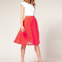 ASOS | ASOS Neon Lace Midi Skirt at ASOS