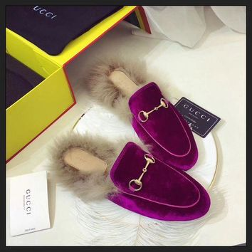 DCCKU62 Sale Gucci Slip On Wool Slippers Purple For Women