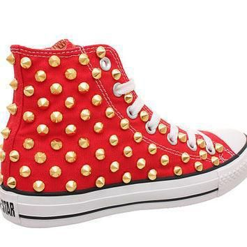studded converse converse red high top with gold cone studs by customduo on etsy