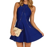 Royal Textured Skater Dress