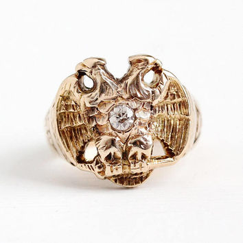 Scottish Rite Ring - 14k Rosy Yellow Gold Double Headed Eagle 32nd Degree Old Mine Cut Diamond Statement - Size 6 Masonic Fine Jewelry