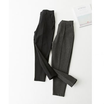 High Waist Casual Pants Slim Roman Cropped Pants [9022835591]