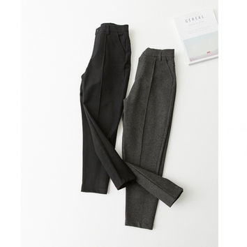 High Waist Casual Pants Slim Roman Cropped Pants [6466180548]