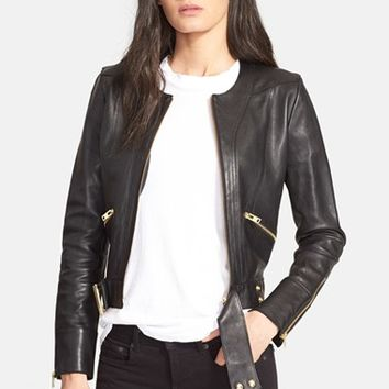 Women's IRO 'Broome' Collarless Leather Jacket,