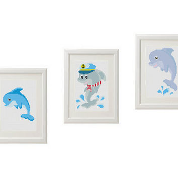 Dolphin Cross Stitch Pattern baby Sea Set of 3 Counted Cross Stitch  modern subversive cross stitch pattern funny cross stitch baby