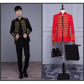 Gold Chain Decorated Military Jacket with Pants (Black & Red)