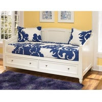 Twin Size Contemporary White Wood Daybed with 2 Storage Drawers