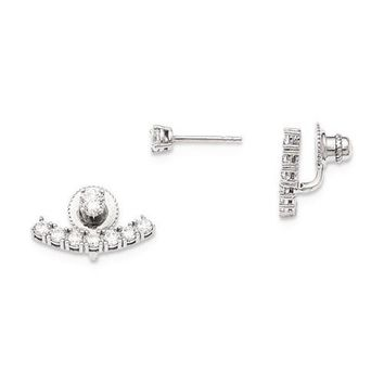 Sterling Silver Round CZ Convertible Back Earrings