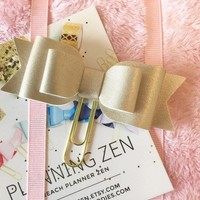 Champagne Gold Bow Deluxe Gold Page Marker Bookmark